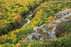 Color del otoño en península de la parte superior de Michigan Imágenes de archivo libres de regalías