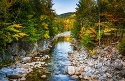Color del otoño y el río rápido en Rocky Gorge, en el Kancamag fotos de archivo