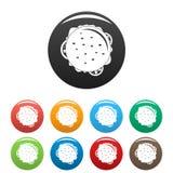 Color del sistema de los iconos del cheeseburger de la visión superior libre illustration