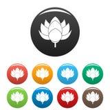Color del sistema de los iconos de la flor de Lotus ilustración del vector