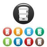 Color del sistema de los iconos de la máquina del procesador de alimentos ilustración del vector