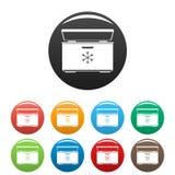 Color del sistema de los iconos del refrigerador del helado stock de ilustración
