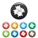 Color del sistema de los iconos del rompecabezas de la solución del trabajo en equipo stock de ilustración