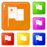 Color del vector del sistema de los iconos de la bandera de Chile libre illustration