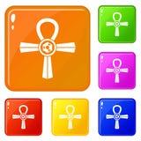 Color del vector del sistema de los iconos del símbolo de Egipto Ankh libre illustration