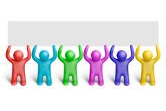 Color demonstration-11. Multicolored plasticine human figures demonstration Royalty Free Stock Image