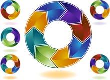 color den mång- behandlingen för cirkuleringen stock illustrationer