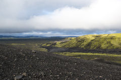 Color desert landscape with mountain on the way to Laki craters, Iceland Stock Photos