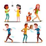 Color Design Afraid Character People Set Vector vector illustration