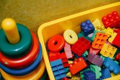 Color designer blocks. Designer blocks. Plastic toy blocks, kids toys constructor royalty free stock photo
