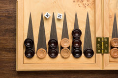 Color detail of a Backgammon game with two dice Stock Photo