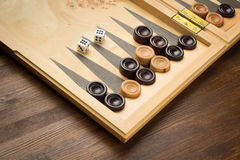 Color detail of a Backgammon game with two dice Stock Photography