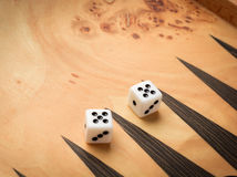 Color detail of a Backgammon game with two dice Royalty Free Stock Image
