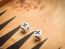 Color detail of a Backgammon game with two dice Stock Image