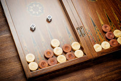 Color detail of a Backgammon game with two dice close up Stock Photography