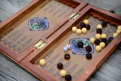 Color detail of a Backgammon game with two dice Royalty Free Stock Photography