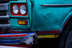 Color detail on the headlight of a vintage car Stock Image