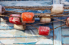 Color Detail Of An Old Fishing Net On Old Blue Wooden Background Royalty Free Stock Photo