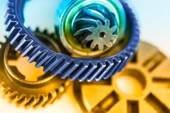 Color detail of various gearwheels Royalty Free Stock Photos