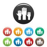 Color determinado de los iconos de las manos del voto ilustración del vector