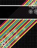 Color diagonals over black background Royalty Free Stock Photography