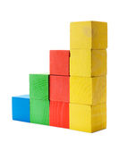 Color diagram chart of wooden blocks Royalty Free Stock Photo
