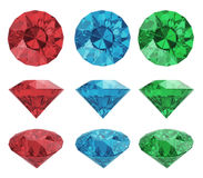 Color diamonds. Set of color diamonds isolated with clipping path Royalty Free Stock Images