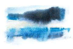 Color dibujado mano abstracta del azul de la mancha de la salpicadura de la pintura del arte de la acuarela de la acuarela stock de ilustración