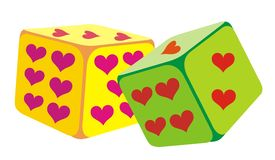 Color dice. Vector illustration wit color dice Royalty Free Stock Images
