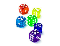 Color dice, number five!.. Stock Photo