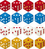 Color dices (vector). In various combinations Royalty Free Stock Photo