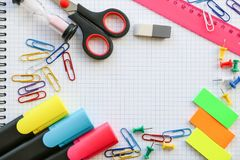 Color different school supplies stock images