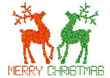 Color digital illustration of christmas reindeers Stock Photos