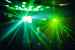 Color disco club light with effects and laser show Stock Photos