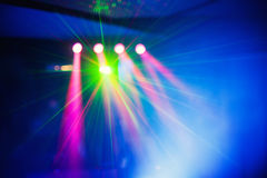 Color disco club light with effects and laser show Stock Images
