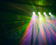 Color disco club light with effects and laser show Stock Image