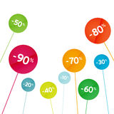 Color discount sale signs on a stick Royalty Free Stock Photo