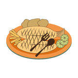 Color dish with fry fish with lemon and potatos. Vector illustration Stock Images