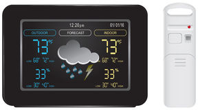 Color display and sensor for weather station Stock Photo