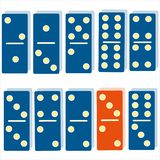 Color dominoes blue dominoes orange dominoes intellectual game logic symbol vector illustration