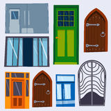 Color door front to house and building flat design style isolated vector illustration modern new decoration open elegant Stock Images