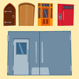 Color door front to house and building flat design style isolated vector illustration modern new decoration open elegant Stock Photography