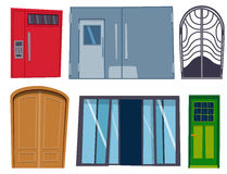 Color door front to house and building flat design style isolated vector illustration modern new decoration open elegant Royalty Free Stock Photo