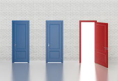 Color door on white brick wall. 3d Royalty Free Stock Photography