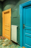 Color doors. In hostel. Cracow. Poland stock photos