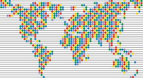 Color dot world map. On the light background Royalty Free Stock Image