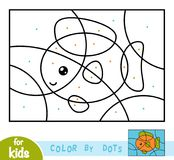 Color by dots, game for children, Fish. Color by dots, education game for children, Fish Royalty Free Stock Image