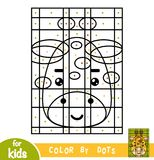 Color by dots, game for children, Giraffe Royalty Free Stock Images