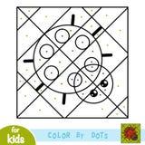 Color by dots, game for children, Ladybug. Color by dots, education game for children, Ladybug stock illustration