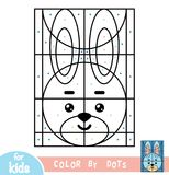 Color by dots, game for children, Rabbit. Color by dots, education game for children, Rabbit Stock Images